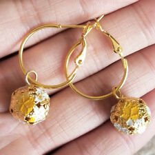 Cute Womens 2cm Small Gold-Tone Ring Yellow-Gold Bell Ball Huggie Hoop Earrings