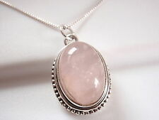 Rose Quartz Intricately Fashioned Pendant 925 Sterling Silver Solid 5 Grams 744g