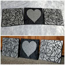 3 Black&Silver Glitter Mosaic beautiful Wall Art Pictures Truely Sparkle canvas