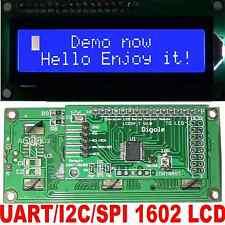 Serial:UART/I2C/SPI Adapter+White/Blue 1602 LCD Hi Level Command Arduino/PIC/AVR