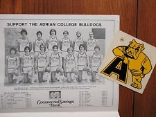 "1976 Adrian College Men's  Basketball Program +  4"" x 4"" Sticker(DALE  CAMPBELL)"