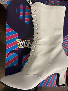 NEW IN BOX FUNTASMA VICTORIAN White Costume Mid Calf Boots -FREE SHIPPING