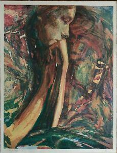 Marta Mangiabene litografia su carta Volto 80x60  firmata 43/70