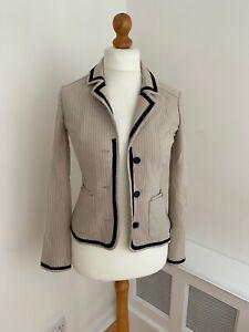 MAX MARA WEEKEND Beige Pink Striped Wool Blend Blazer Jacket S UK 10