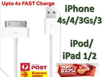 USB Data Cable Sync Fast Charger for Apple iPhone 4S 4 3GS 3 iPod Touch iPad 1