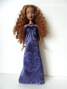 MY SCENE BARBIE CLOTHES purple Gown & Jewelry Set Handmade Fashion NO DOLL d4e