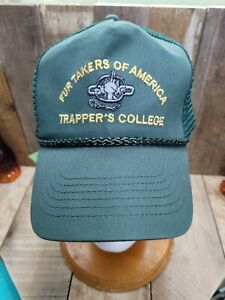 Vintage Fur Takers Of America Trappers College Hat Cap Snapback mesh rope rare!!
