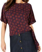 Michael Kors Womens Blouse Red Size Small S Field Flower Print Tie $68 203
