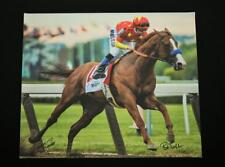 JUSTIFY MIKE SMITH BOB BAFFERT SIGNED BELMONT HORSE RACING GICLEE TRIPLE CROWN