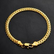 Yellow Gold Color Bracelet Bangle Chain Fashion Women Men Punk Jewelry