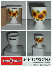 BN Personalised Boxed Fine Bone China Sunflower Egg Cup, Floral Egg Cup, Egg Cup