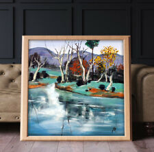 Country Lake Tree Cottage Landscape Oil Painting Cavans Prints Wall Art A2 Frame