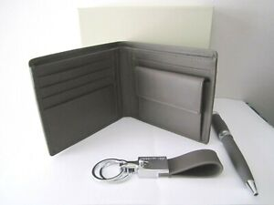 CERRUTI 1881 - Gift set - Elephant grey leather wallet, key ring & ballpoint pen