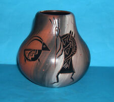 Native American Art Pottery-Navajo kokopeli Style? bulbeuse vase-Signé Base.