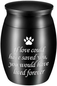Small Cremation Urns - Pet Ashes Mini Dog Paw Keepsake Urn Stainless Steel,Black