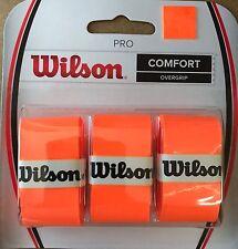 WILSON PRO OVERGRIP COMFORT RACCHETTA Arancione Confezione da 3 Tennis Squash Badminton