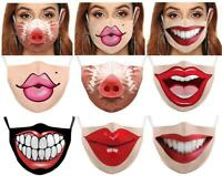 Cartoon Mouth - Face Mask Cover Funny Unisex Polyester Teeth Mouth Washable