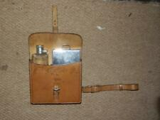 HARRODS SWAINE ADENEY FOX HUNTING SANDWICH TIN & FLASK CANTEEN IN LEATHER CASE.