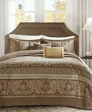 Madison Park Bellagio 5-Pc Quilted Floral Striped Jacquard Bedspread Set - KING