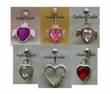 Ring Navel Barbell 14G 3/8- B2/Get1Free Cz Heart-Locket Crown Wings Belly Button
