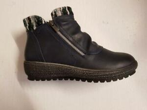 Womens L83 Cipriata Ankle Navy Faux Leather Boots Wedge Zip Winter Warm Boots