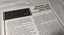 MCINTOSH C 34V CONTROL CENTER ORIGINAL TECHNI-DATA QUICKSHEET M693