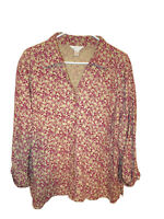 CJ Banks women's 2X Dark Pink/Taupe button up long sleeve Casual shirt. EUC.