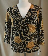 Mirasol Stretch, Large, Black Multi Floral Knit Top, New with Tags