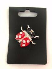 Gorgeous Diamante Ladybird red enamel Brooch Rhinestone gold metal NEW