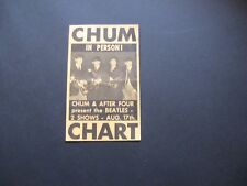 The Beatles Chum Chart handbill for the Aug. 17, 1965, shows in Toronto
