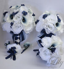 17 Piece Package Wedding Bridal Bouquet Silk Flowers NAVY DARK BLUE WHITE CALLA