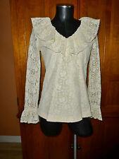 Vtg 70s SHEER Ivory Crochet Lace JOY STEVENS Boho Country dress BLOUSE TOP A94