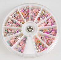 Lots 1200pcs Nail Art Tips Glitters Rhinestones Slice Decoration Manicure Wheel