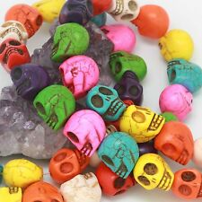 "13x18mm Carved Skull Howlite Turquoise Loose Spacer Beads 15.5"" Assorted Color"