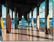 "Pier Group Beach Surf Surfer Surfing Longboard Surfboard Fin Metal 12.5X16"" Sign"
