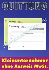 2 x QUITTUNGSBLOCK für Kleinunternehmer,SD,2 x 50 BLATT,QUITTUNG,QUITTUNGSBLÖCKE