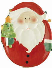 """NEW~""""SANTA"""" SERVING PLATE - 8"""" x 6"""" CERAMIC DISH FOR CHRISTMAS PIES, SWEETS ETC."""