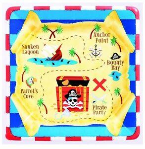 Pirate Party Supplies - Pirate Treasure Square Party Dessert/Snack Plates 8pk