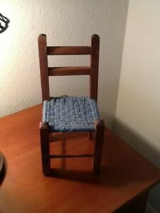 "Vintage 12""  Chair for Doll or Bear woven seat smoke free home"