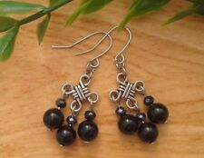 Black ONYX Gemstone On Chinese Lucky Knot Dangle Earrings Feng Shui Retro Style