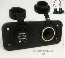 Waterproof Dual USB Charger and 12V Heavy Duty High Power 20A Socket Dash Marine