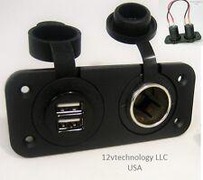 Waterproof Dual USB Charger and 12V Heavy Duty High Power Socket, Dash RV Marine