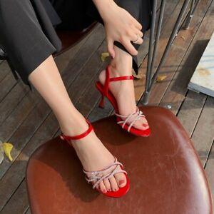Womens Slingback Sandals Rhinestone Ankle Strap Kitten Heels Open Toe Shoes