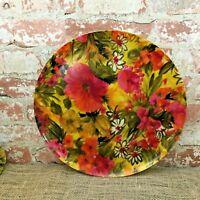 "Vintage Fiberglass Serving Tray Platter Round Pink Orange Floral Edge Lip 14"""
