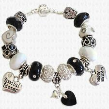 BLACK & WHITE Charm Bead Bracelet with SWAROVSKI ELEMENTS Heart & GIFT BOX