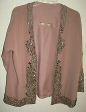 Soft Surroundings PL Open Front Kimono Top Lavender/Silver Beading