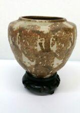 Vintage Yukio Onaga Pottery Vase W/ Wood Stand