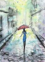 ACEO rain woman umbrella city streets painting original watercolor art card