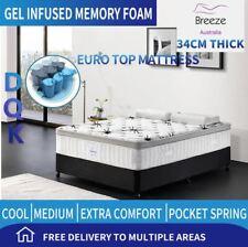 Double Queen King Mattress Bed Cool Gel Infused Memory Foam Euro Top 7 Zone 34cm