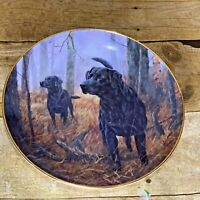Royal Doulton Franklin Mint Hot on the Trail Collector Plate Black Labs